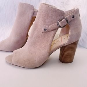 Sole Society Cut Out Bootie Buckle & Stacked Heel